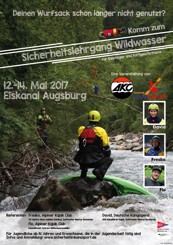 Plakat - Sicherheitslehrgang Wildwasser Augsburg 2017