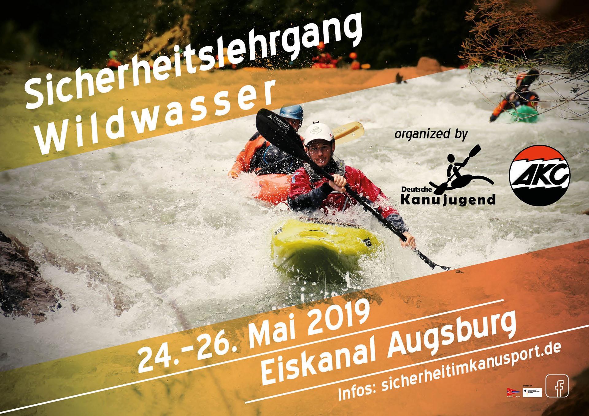 Plakat - Sicherheitslehrgang Wildwasser Augsburg 2019